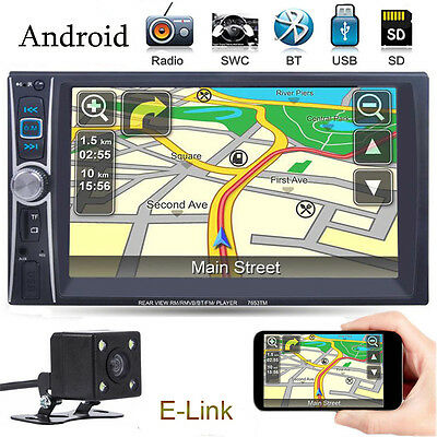 """Android 6.6"""" Double 2 Din In Dash Car MP3 Touch FM Radio Stereo Player + Camera"""