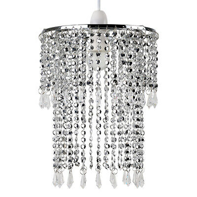 Contemporary Silver Chrome / Clear Acrylic Jewel Droplet Ceiling Pendant Shade