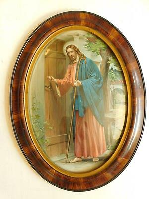 AUC1 Large Vintage Convex Glass Oval Picture Frame Litho print Christ ca 1900s