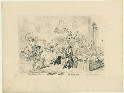 caricature 1788 James Gillray The Election-Troops - A pig in a poke - Market-Day