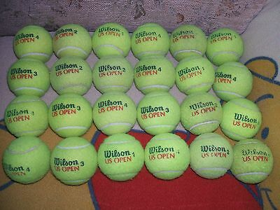 24 Wilson U S Open Tennis Balls Practice/ Coaching V.g. Used Condition