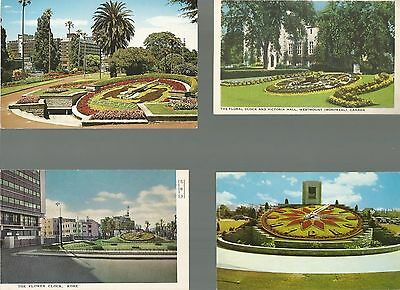 Floral Clocks - 8 different unused cards - various locations & publishers