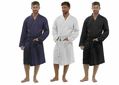 Mens 100% Cotton Waffle Robe Bathrobe Dressing Gown Belted Housecoat Gents Size