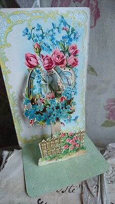 SWEET ANTIQUE FRENCH BONNE ANNEE NEW YEAR WISHES CARD FOLD OUT 3D DISPLAY  c1890