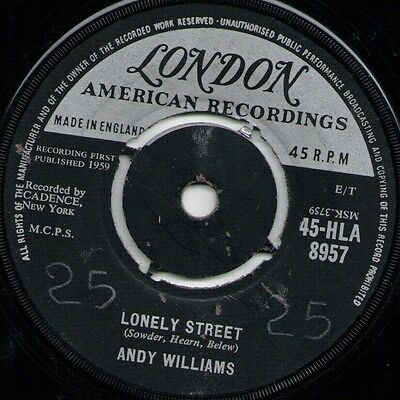 """Andy Williams Lonely Street (16029) 7"""" Single 1959 London Records 45-HLA 8957"""