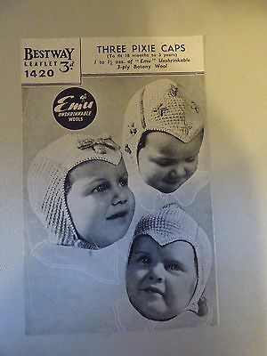 Vintage Knitting Pattern, 1940's - 3 Pixie Caps for Babies, 3 ply, Austerity