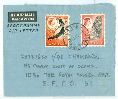 1965 Swaziland air letter Mbabane to BFPO51. Good contents church,L.Marques++