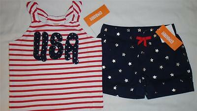NEW Girls Size 10 Gymboree Outfit Red White Cute 7/4 USA Shirt Star Shorts NWT