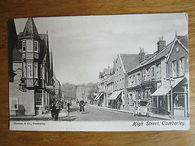 Very Old RP POSTCARD 1905 HIGH STREET CAMBERLEY SURREY Advert for sale freehold