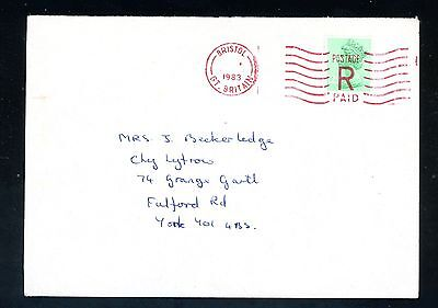 1983  Machin Cover  Bristol to York Red Postmark 'R' Paid    (F990)
