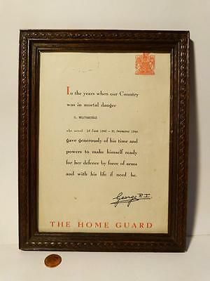 H. Weatherhead THE HOME GUARD 1940-44 Certificate Oak Framed SCARBOROUGH