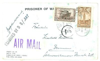 1944 WW2 Canada Prisoner of War front only to Bremen, censor marked.POW cancels