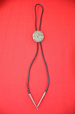 Bolo Tie Braided Leather Cord Sterling Silver .925 Turquoise Jasper Clasp #529