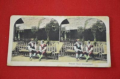 Antique Stereoscope Card Peasant Boys Switzerland View Stereoview  #1255