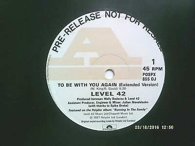 "Level 42 To Be With You Again 12"" Promo Single 1987 N/mint"