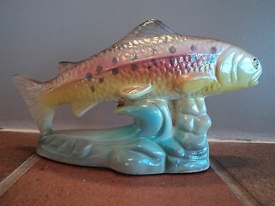 Vintage Retro Lustre Glaze Rainbow Trout/salmon Fish - Lovely Colours (Mint).