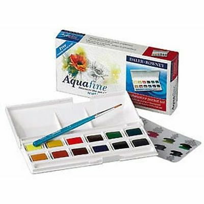 Daler Rowney Aquafine Watercolour - Pocket Set Brand New Sealed Fast Free Post
