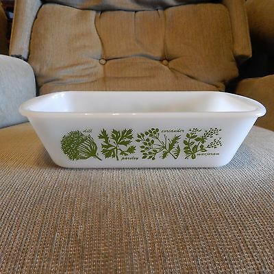 Vintage Glasbake Green Herb Pattern Rectangle Casserole Or Loaf Pan / Dish