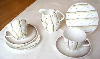 8-Piece Vintage Adderley China Tea Set–Stylised Branches& Falling Leaves Pattern