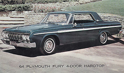 1964 PLYMOUTH Fury 4-Door Hardtop CHRYSLER Advertising Postcard