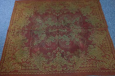 Victorian Formal Tablecloth-49x57-Burgundy/Old Gold Tapestry-Type-Flowers,Ferns