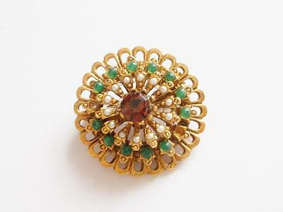 VINTAGE 1950's SIGNED ART GREN BEAD PEARL AMBER GLASS CRYSTAL GOLD TONE BROOCH