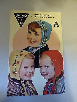 "Vintage Knitting Pattern, 1950's - 3 Variations on the ""Dutch Bonnet"" 3 ply"