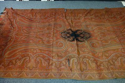 "Huge Victorian Paisley Shawl -59""x116""- Wool- Beautiful Colors- GLORIOUS"