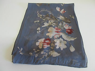Ralph Lauren Hand Rolled Oblong Scarf 54 x 10 Floral Pattern On Gray