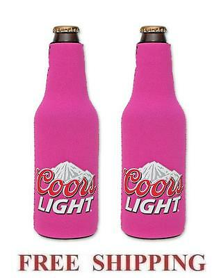 Coors Light Mountains 2 Beer Bottle Suit Coolers Koozie Coolie Huggie Pink New