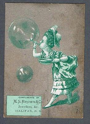 Original 1900's M.S. Brown & Co. Halifax Jewellers Advertising Trade Card