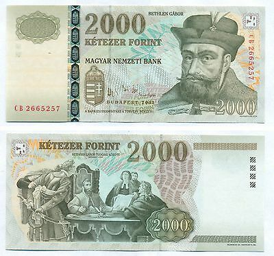 HUNGARY NOTE 2000 FORINT 2005 P 190d UNC