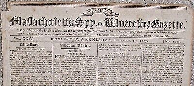RARE 1797 Antique MASSACHUSETTS SPY Newspaper Isaiah Thomas Worcester MA