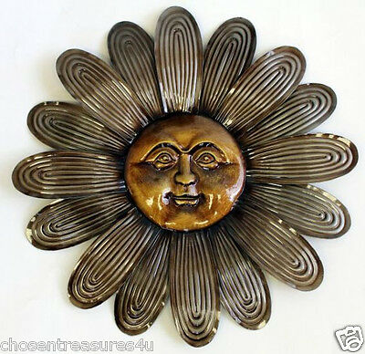 Metal FLOWER HAPPY Face Wall Art 15 in.GARDEN HOME WALL DECOR  FENCE PLAQUE sun