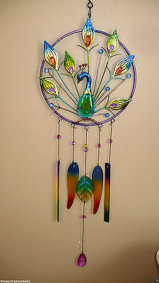 PEACOCK BELL  WIND CHIME  IRON +FUSION GLASS  FEATHERS garden fence chimes 30 IN