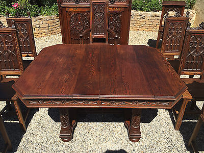 Antique French Gothic Dining Table in Oak 19th Century