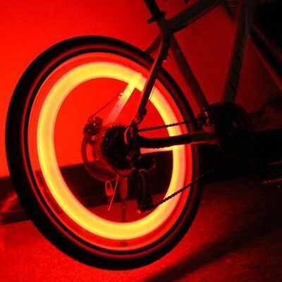 Bicycle Valve LED Lights Bright Red For Car or Bike Be Safe Be Seen E