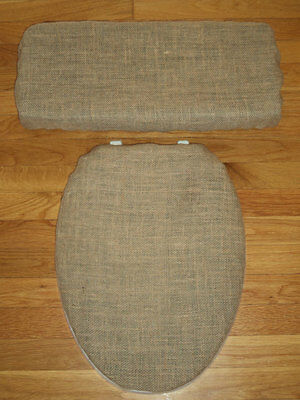 Burlap Brown Rustic Primative Country Farm Style Bathroom Toilet Seat Cover Set