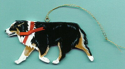 AUSTRALIAN SHEPHERD Trotting Wooden ORNAMENT - Black-tri - Hand Crafted !