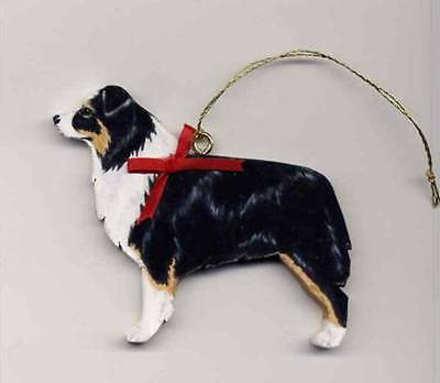AUSTRALIAN SHEPHERD Wooden Dog ORNAMENT - Black-tri - Hand Crafted - w/name!