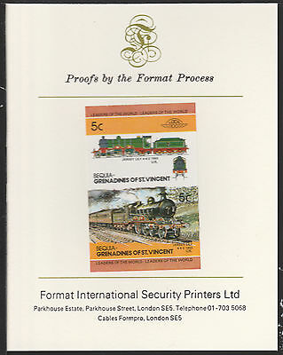 Bequia (2057) Locomotives #2 Jersey Lily 4-4-2  imperf on Format PROOF  CARD