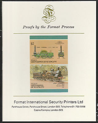 Bequia (2063) Locomotives #5 LNWR Cornwall  imperf on Format PROOF  CARD