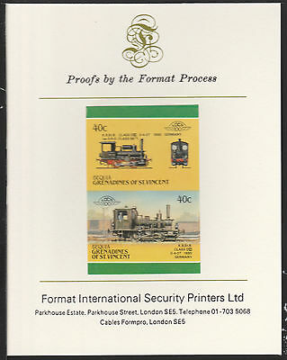 Bequia (2066) Locomotives #5 Class DVI 0-4-0 imperf on Format PROOF  CARD
