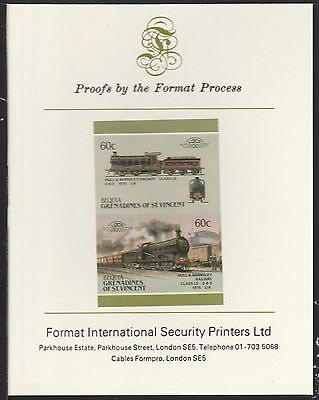 Bequia (2068) Locomotives #5 H&B 0-6-0  Class LS  imperf on Format PROOF  CARD