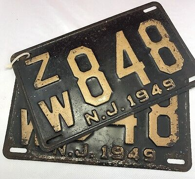 New Jersey 1949 N.J. License Plate PAIR