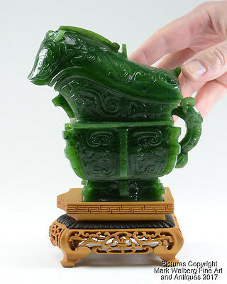 Chinese Carved Spinach Jade Archaic Style Guang Vessel, Wood Stand, Mid 20th C.