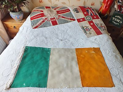 Superb Early Antique Irish tricolor Flag (Vintage Ireland Eire Old Rugby USA)