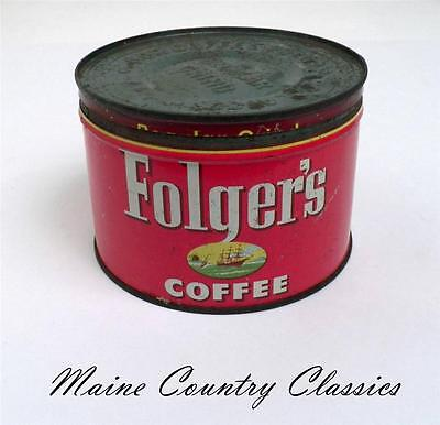 Vintage Dated 1952 Folger's Key Wind Canco Coffee Tin with Sailing Ship Graphics