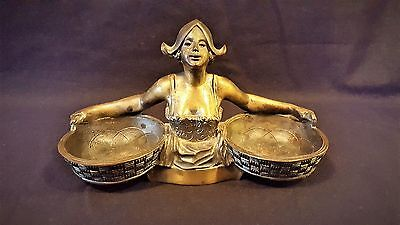 Antique Cast Bronze Brass Dutch Girl Figural Desk set piece Interesting Whats it