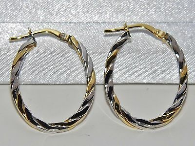 Beautiful 9 Ct Yellow & White Gold Twisted Rope Creole Hoop Earrings